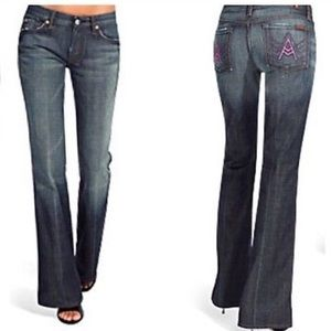 7 For All Mankind A Pocket Pink Stitch Flare Jeans